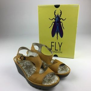 FLY LONDON Yanca Mousee Safron Leather Wedge